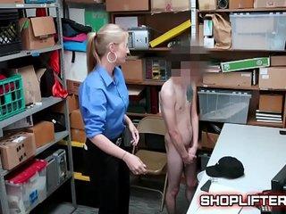 Excited Police Lady Gets Boy Hard In Backroom