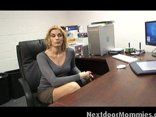 Cougar secretary swallows black cock cum