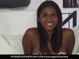 CASTING ALLA ITALIANA - Interracial MMF threesome with gorgeous Indian babe Maya Secret
