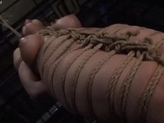 Filthy asian whore in shibari gets brutally spanked